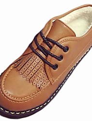 cheap -Women's Shoes Rubber Winter Comfort Oxfords Flat Heel Round Toe For Outdoor Light Brown Black