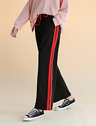 cheap -Women's Mid Rise >75% Sweatpants Pants,Casual Solid Striped Acrylic Others Microfiber Acrylic All Seasons