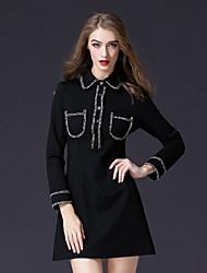 cheap -FRMZ Women's Party Work Casual Active A Line Little Black Kaftan Dress,Solid Shirt Collar Above Knee Long Sleeve Cotton Nylon Elastane Winter