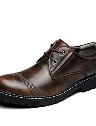 baratos -Homens sapatos Courino Couro Primavera Outono Conforto Botas para Casual Preto Cinzento Castanho Escuro