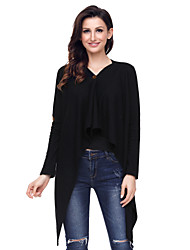 cheap -Women's Daily Wear Going out Casual Regular Cardigan,Solid V Neck Long Sleeves Polyester Elastane Winter Medium strenchy