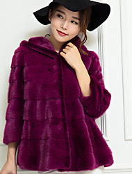 cheap -Women's Daily Club Simple Casual Sexy Winter Fall Fur Coat,Solid V Neck Long Sleeves Regular Cashmere Cotton Polyester