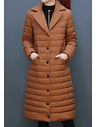 Women's Parka Coat,Casual Daily To-Go Solid-Polyester Long Sleeves