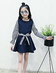 cheap -Girl's Lines / Waves Dress,Cotton Polyester Long Sleeves Casual Active Navy Blue