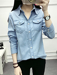 cheap -Women's Daily Cute Shirt,Solid Shirt Collar Long Sleeves Cotton