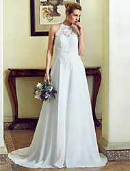 cheap -A-Line Princess Jewel Neck Sweep / Brush Train Chiffon Lace Wedding Dress with Appliques Lace by LAN TING BRIDE®
