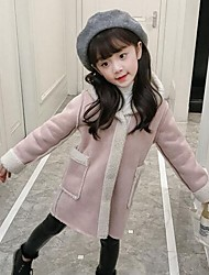 cheap -Girls' Solid Suit & Blazer,PU Cotton Winter Fall Cute Casual Active Blushing Pink Wine