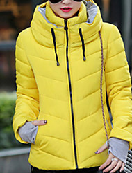 cheap -Women's Short Padded Coat,Vintage Cute Casual Daily Going out Solid-Cotton Polyester Cotton Polypropylene Long Sleeves