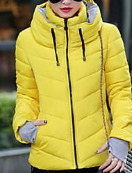 preiswerte -Damen Gefüttert Mantel,Kurz Retro Einfach Niedlich Ausgehen Lässig/Alltäglich Solide-Baumwolle Polyester Baumwolle Polypropylen Langarm