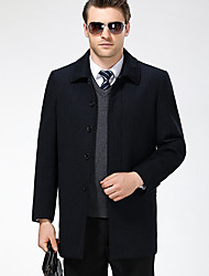 Pánské Jednobarevné Běžné/Denní Jednoduchý Kabát-Zima Podzim Vlna Polyester Košilový límec Dlouhý rukáv Standardní