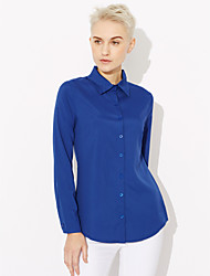 Для женщин На каждый день Рубашка Рубашечный воротник,Простое Однотонный Длинный рукав,Хлопок,Тонкая