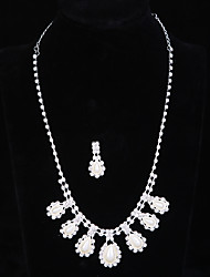 cheap -Women's Bling Bling Elegant Imitation Pearl Rhinestone Drop Necklace One Earring For Wedding Party Wedding Gifts