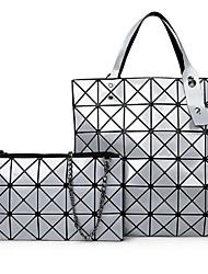 cheap -Women Bags PU Bag Set Zipper for Casual All Season White Black Silver Purple Wine