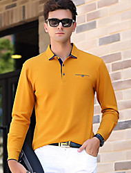 cheap -Men's Business Vintage Active Cotton Polo - Solid Colored Shirt Collar
