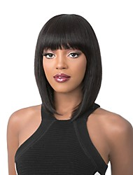cheap -Women Synthetic Wig Capless Medium Length Straight Red Brown Chestnut Brown Dark Black Light golden Bob Haircut With Bangs Celebrity Wig
