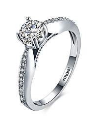 baratos -Mulheres Anel de banda Cristal 1 Prata Zircão Liga Formato Circular Forma Geométrica Clássico Fashion Casamento Festa Aniversário Noivado