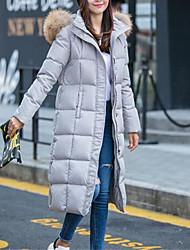 Lungo Piumino Da donna,Cappotto Semplice Casual Tinta unita Cotone Polipropilene Manica lunga Con cappuccio