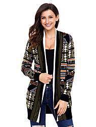 cheap -Women's Daily Wear Holiday Casual Long Cardigan,Print Shirt Collar Long Sleeves Polyester Elastane Winter Thick strenchy