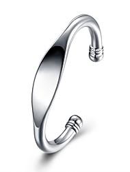 Недорогие -Муж. Геометрический принт Браслет цельное кольцо - Серебрянное покрытие Мода Браслеты Серебряный Назначение Подарок Повседневные