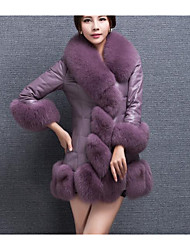 cheap -Women's Daily Going out Street chic Winter Fall Regular Fur Coat,Solid Round Neck Faux Fur