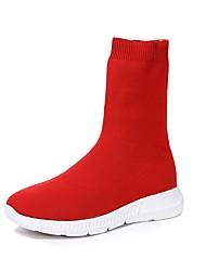 cheap -Women's Shoes Knit Winter Combat Boots Boots Round Toe Mid-Calf Boots For Casual Red Black