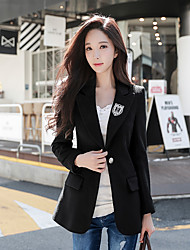 Women's Daily Work Simple Casual Street chic Winter Fall Blazer,Solid Peak Long Sleeves Regular Wool Polyester Classic