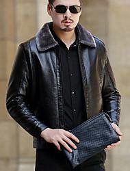 baratos -Masculino Jaquetas de Couro Diário Simples Casual Inverno Outono,Sólido Padrão Pele de Carneito Colarinho de Camisa Manga Longa