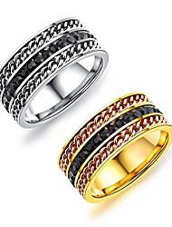 billige -mænds band ringe mode vintage titanium stål forgyldte cirkel smykker til bryllupsfesten