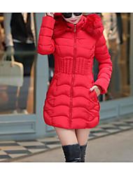 Dámské Dlouhý kabát Jednoduchý Běžné/Denní Jednobarevné-Kabát Bavlna Dlouhý rukáv