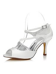 Недорогие -Для женщин Обувь Шёлк Весна Лето Туфли лодочки Обувь на каблуках На шпильке Круглый носок Открытый мыс Стразы Назначение Свадьба Для