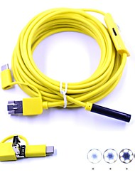 abordables -3 en 1 7 mm usb endoscopio 5 m cable 6 led a prueba de agua ip67 cámara de inspección borescop serpiente video cam para android pc