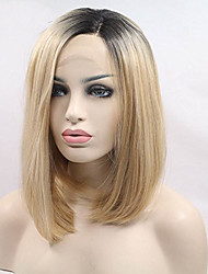 Realistic Looking Short Bob Wigs Ombre Blonde Lace Front Wig Straight For Women 2 Tones Dark Roots Synthetic Wig Glueless Heat Resistant Fiber Hair