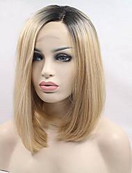 preiswerte -Synthetische Lace Front Perücken Glatt Bubikopf Dunkler Haaransatz Blond Damen Spitzenfront Fan Perücke Karnevalsperücke Halloween