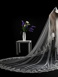 cheap -Two-tier Cut Edge Lace Applique Edge Sequins Modern Wedding Veil Cathedral Veils Headpiece 53 Appliques Paillette Lace Tulle Sequined