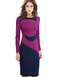 cheap -Women's Work Casual Plus Size Bodycon Knee-length Dress, Color Block Round Neck Long Sleeves Winter Fall