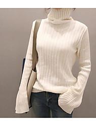 preiswerte -Damen Kurz Pullover-Ausgehen Lässig/Alltäglich Solide Rollkragen Langarm Baumwolle Herbst Winter Mittel Mikro-elastisch