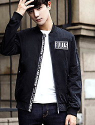 Men's Daily Simple Casual Fall Jacket,Solid Letter Regular Nylon