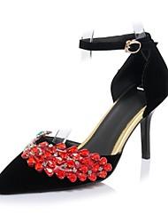Damen Schuhe Glanz Kunstleder Frühling Herbst Komfort Neuheit High Heels Spitze Zehe Strass Schnalle Für Hochzeit Party & Festivität
