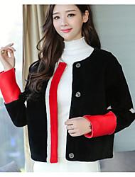 Cappotto Da donna Casual sofisticato Autunno Inverno,Monocolore Rotonda 100% cashmere Corto Manica lunga