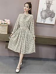Women's Daily Going out Street chic Sheath Swing Dress,Floral Shirt Collar Midi Long Sleeve Cotton Winter Fall Medium Waist Inelastic