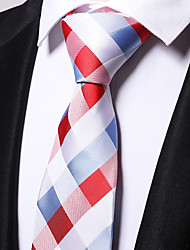 cheap -Men's Polyester Necktie,Work Casual Plaid/Checkered All Seasons Red