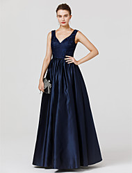 cheap -A-Line Princess V-neck Floor Length Lace Satin Formal Evening Dress with Pleats by TS Couture®