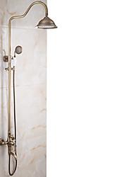 Antique Set de centre Jet pluie Avec spray démontable Rotatif Soupape céramique Mitigeur deux trous Cuivre antique , Robinet de douche