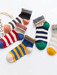 cheap -Women's Medium Socks, Cotton Nylon Striped Five-piece Suit Rainbow