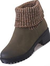 Недорогие -Для женщин Обувь Полиуретан Весна Осень Удобная обувь Ботинки для Черный Военно-зеленный Хаки