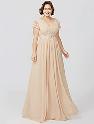 Sheath / Column Jewel Neck Floor Length Jersey Mother of the Bride Dress with Beading Appliques Pleats by LAN TING BRIDE®
