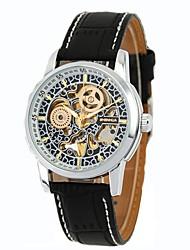 abordables -Homme Remontage automatique Montre mécanique / Montre Bracelet Chinois Calendrier / Chronographe / Etanche / Gravure ajourée Vrai Cuir