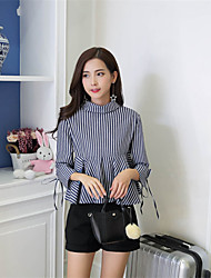 cheap -Women's Daily Work Street chic Spring/Fall Summer Shirt,Striped Crew Neck 3/4 Length Sleeves Cotton Polyester Medium