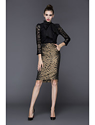 cheap -ZIYI Women's Party Going out Sexy Spring/Fall Set Skirt Suits,Leopard Crew Neck Long Sleeves Lace Cotton Inelastic