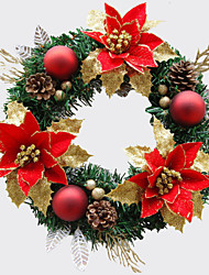 cheap -Christmas Wreath 1 Colors Pine Needles Christmas Decoration For Home Party Diameter 30cm Navidad New Year Supplies